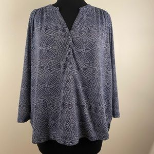 3/4 sleeve blouse by H&M geometric floral pattern